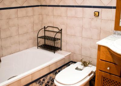 Baño completo con bañera y cabina de ducha.